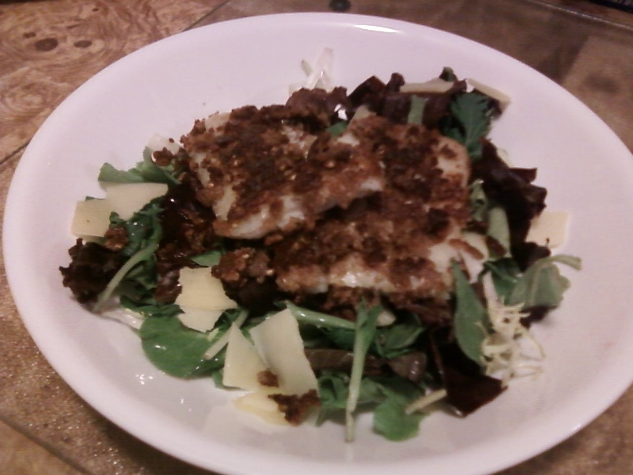 Fried Flounder Over Field Greens