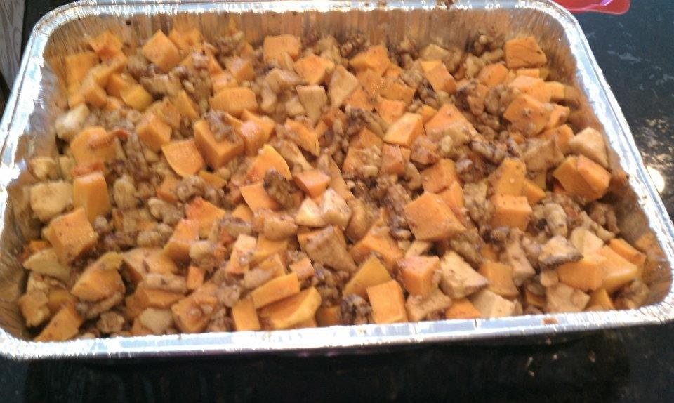 Honey Glazed Roasted Butternut Squash, Apples and Walnuts