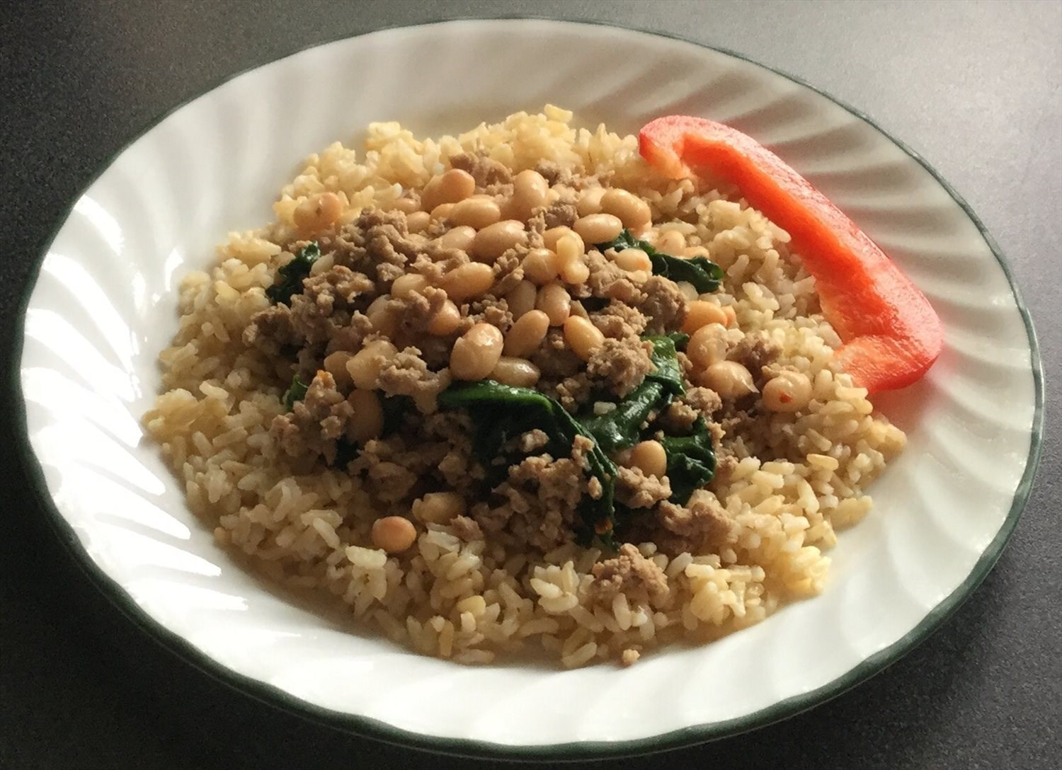 Turkey Spinach Over Brown Rice