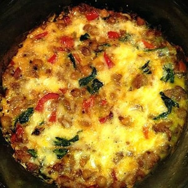Chickpea, Spinach, and Chicken Italian Sausage Fritatta
