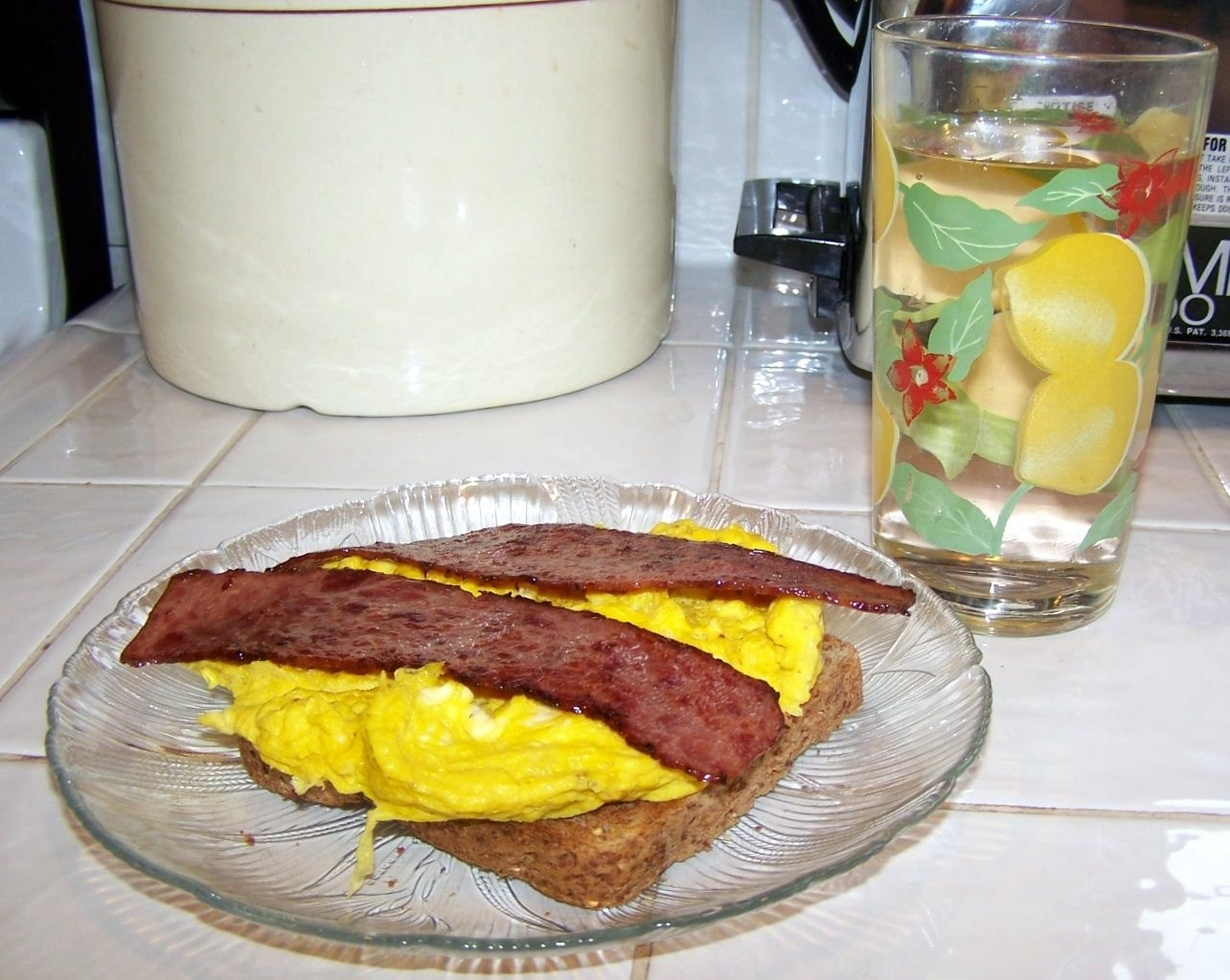 Open-Faced Egg and Bacon Sandwich