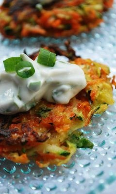 Summer Vegetable Pancakes with Basil Chive Cream