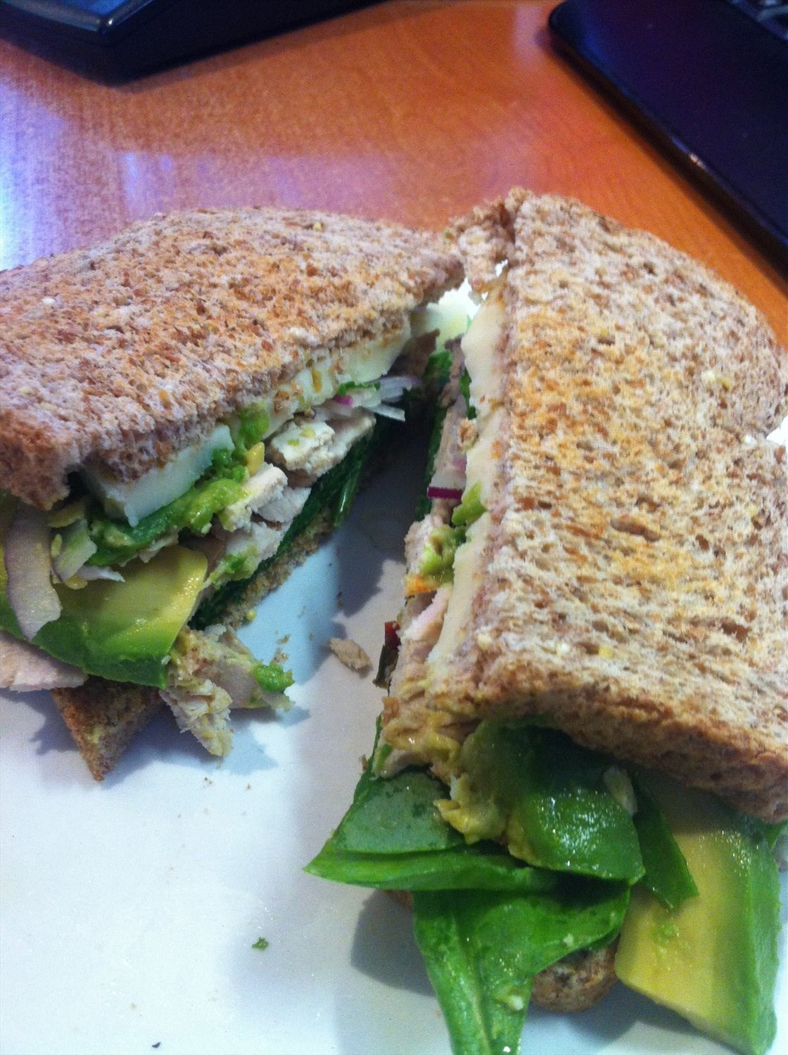 Turkey Avocado Spinach Sandwich