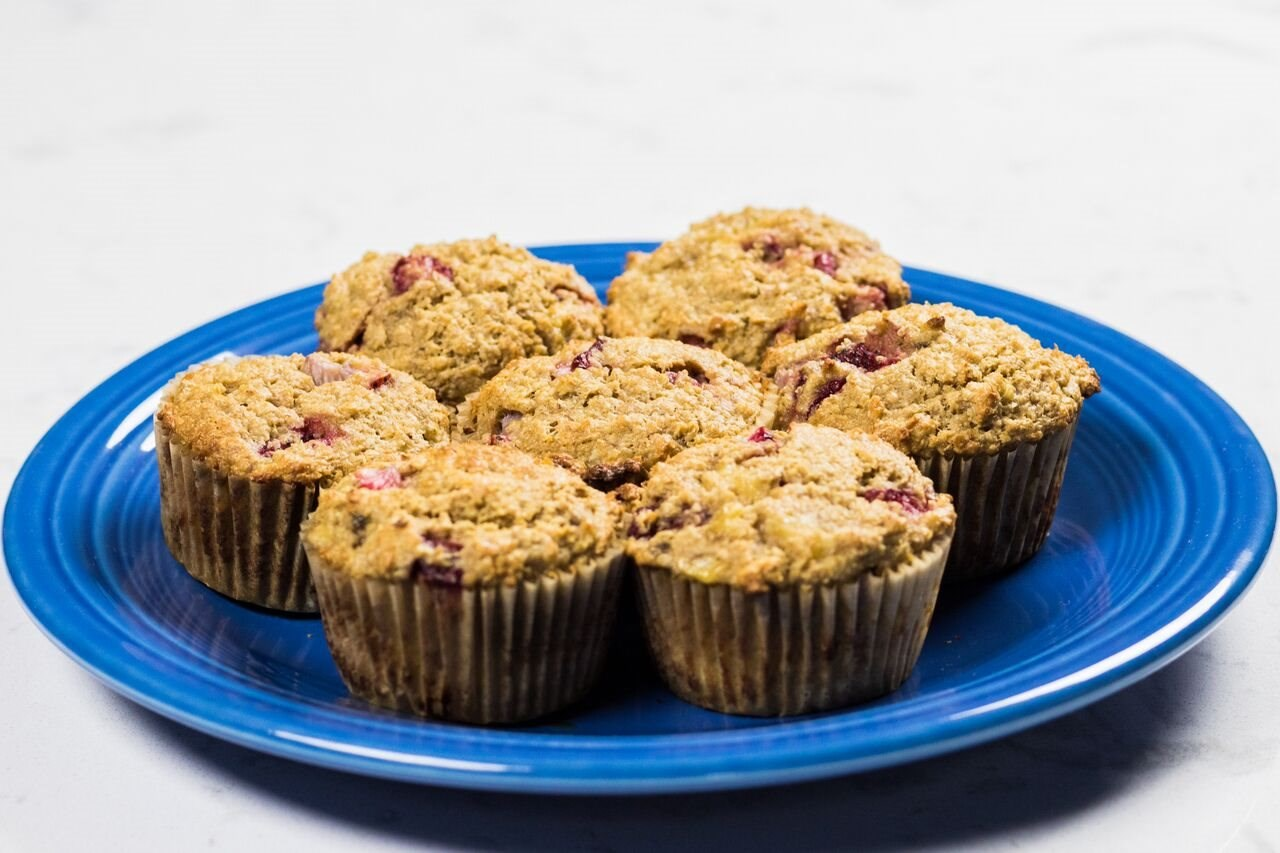 Strawberry Banana Oat Bran Muffins