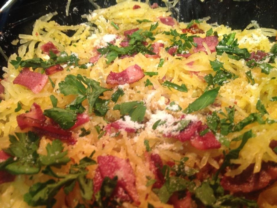 Bacon Parmesan Parsley Sundried Tomatoes and Feta Cheese Spaghetti Squash