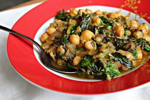 Indian Spiced Chickpeas with Rhubarb and Spinach