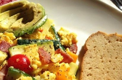 Paleo Turkey and Veggie Scramble on Toast