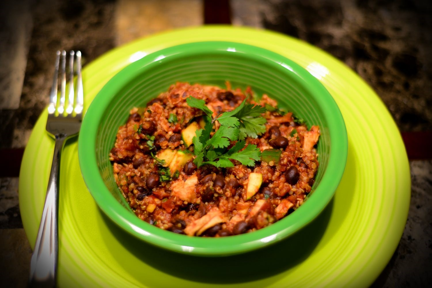 Chicken and Black Bean and Quinoa Chili
