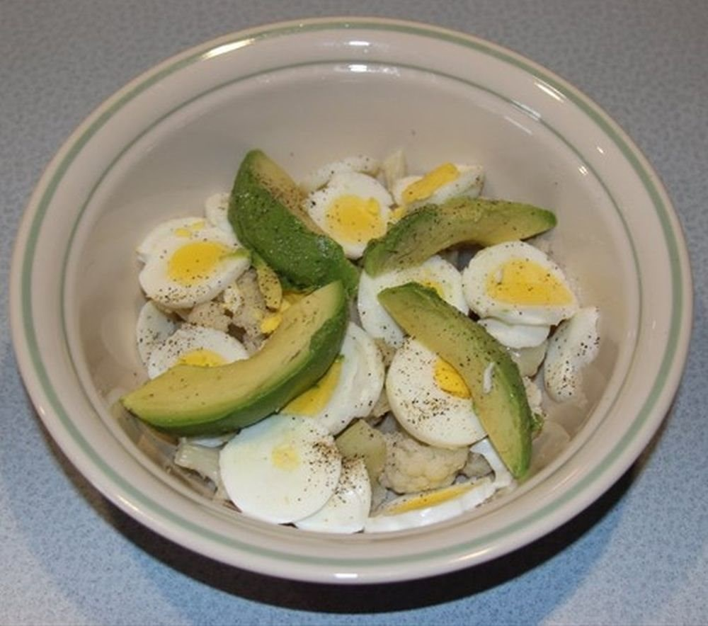 Eggs Cauliflower and Avocado Breakfast
