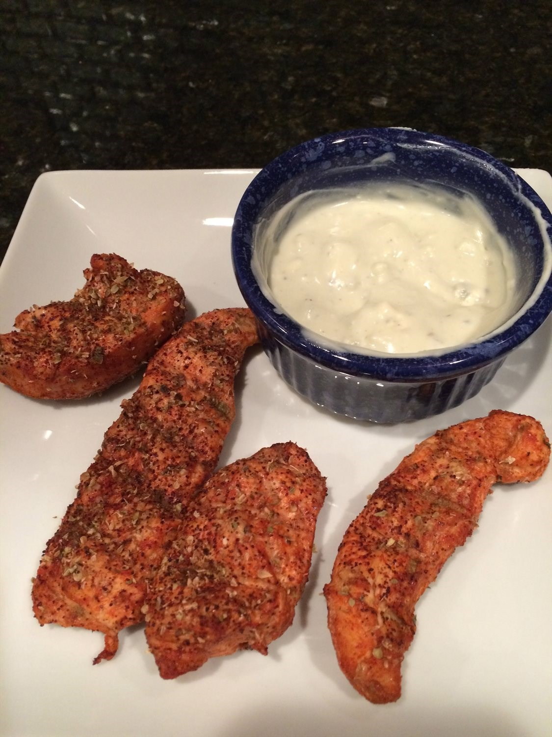 Buffalo Chicken Strips with Blue Cheese Dressing