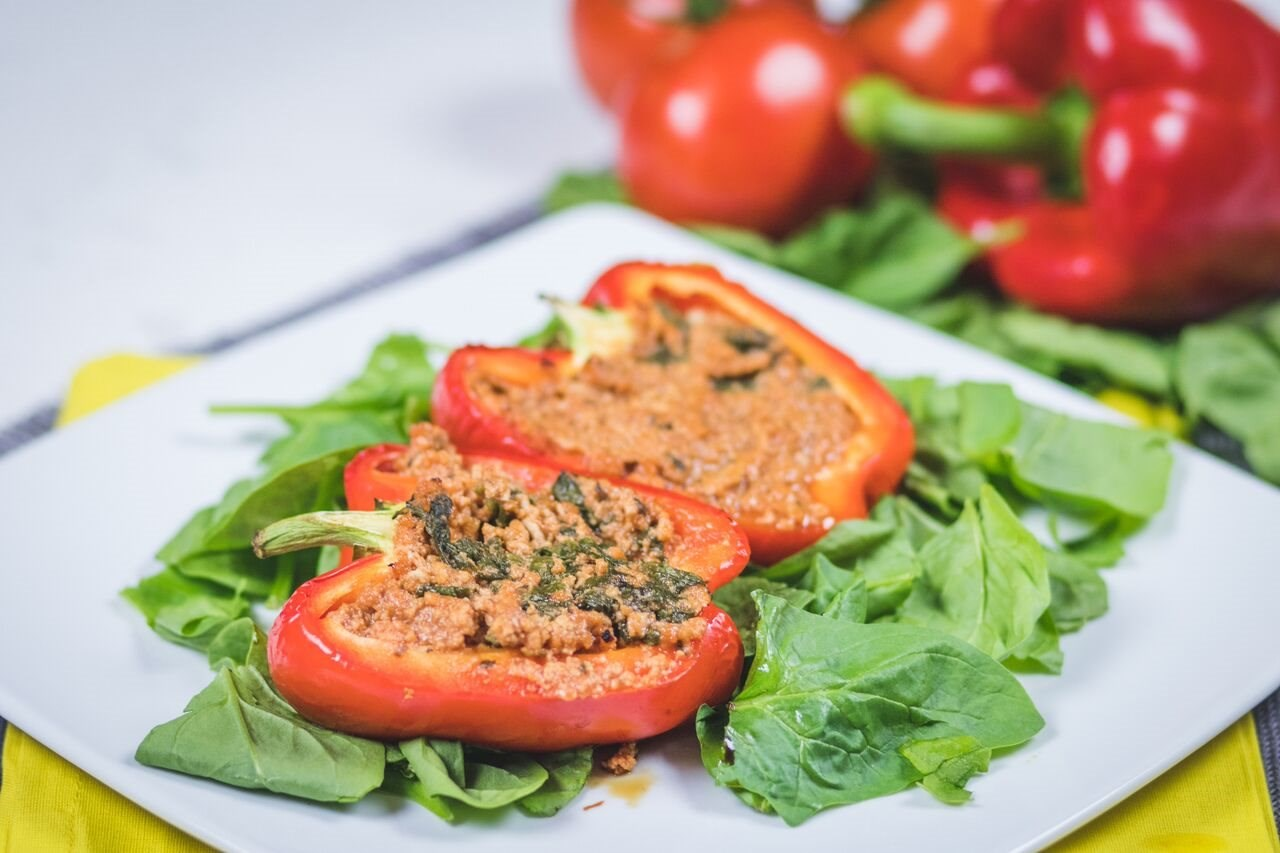 Turkey and Spinach Stuffed Peppers