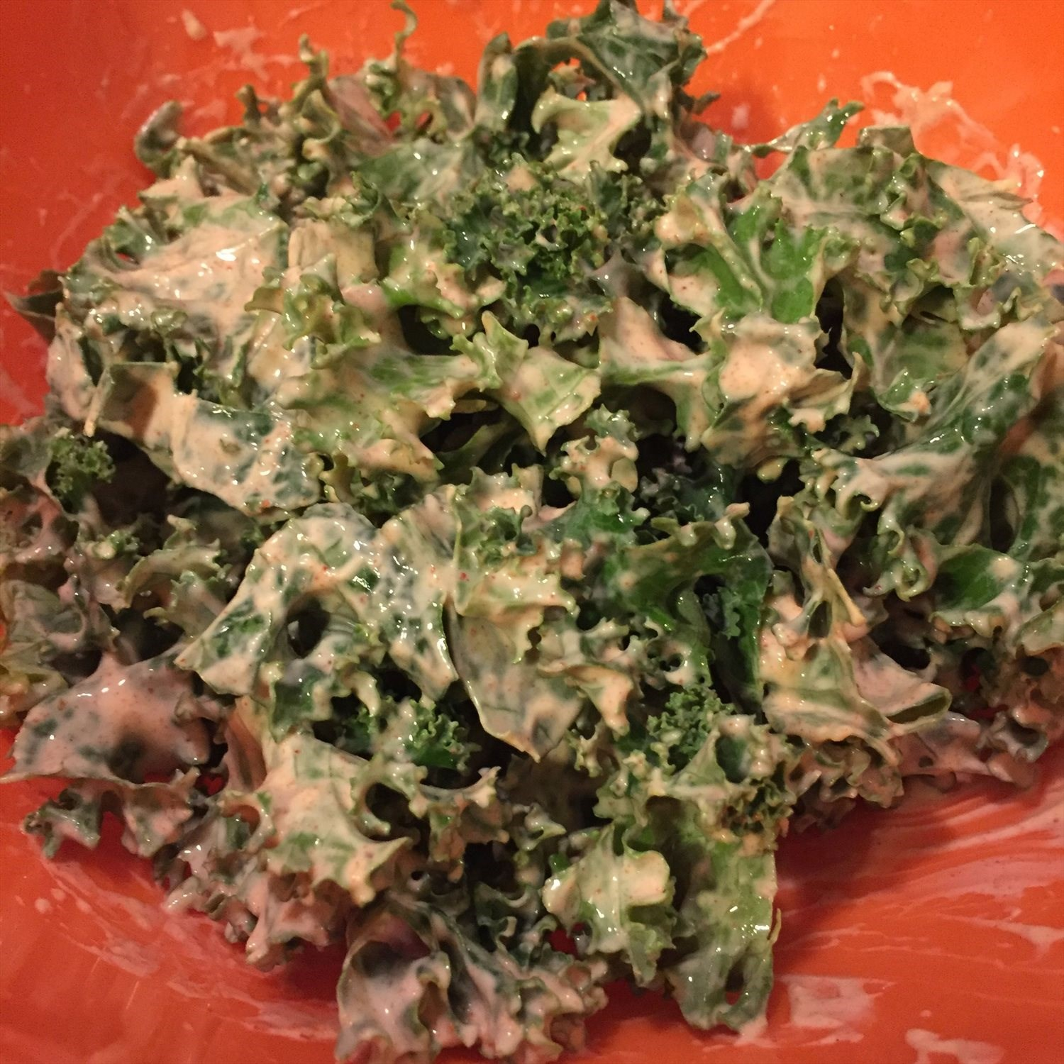 Kale with Cayenne Paprika Greek Yogurt Dressing