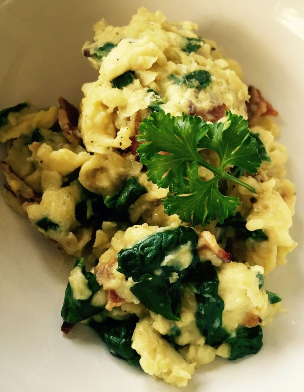 Spinach and Bacon Scramble