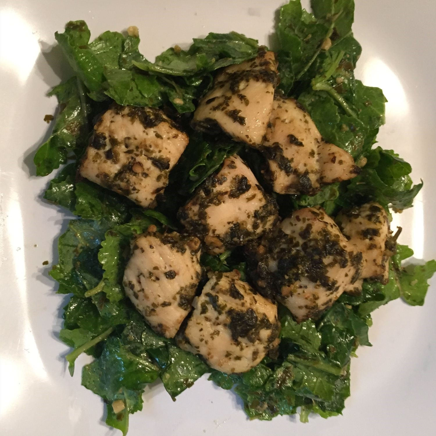 Baked Pesto Chicken and Kale