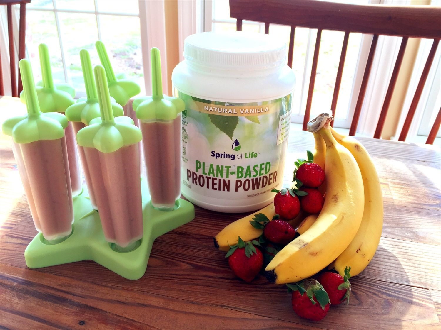 Strawberry Banana Protein Popsicles