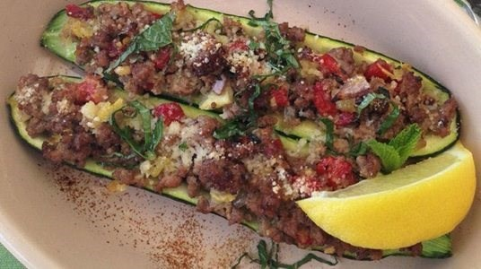 Greek Lamb Stuffed Zucchini