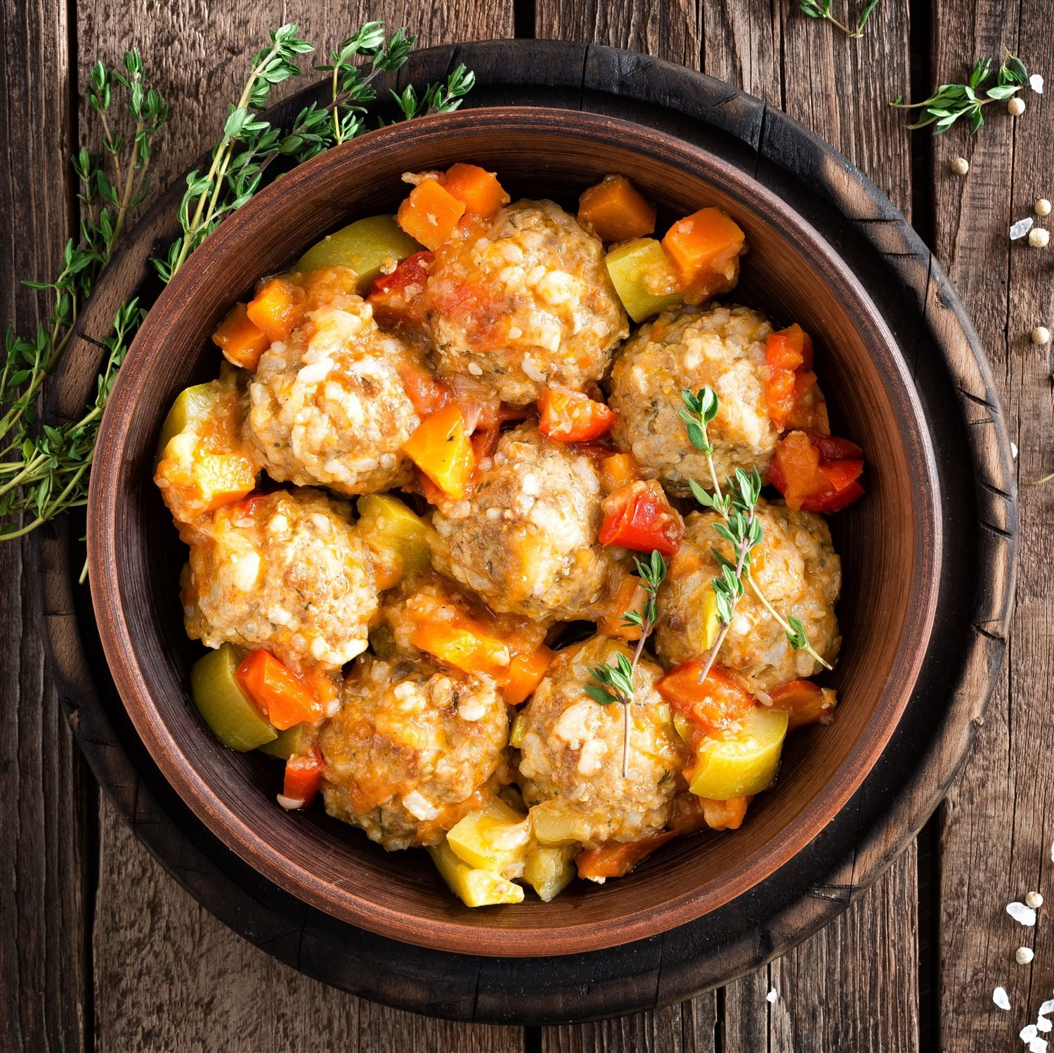 Turkey Meatball and Squash Skillet
